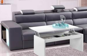 Mesa de centro elevable en blanco o gris ceniza